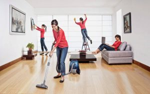 cleaning a house